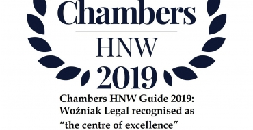 "Chambers HNW Guide 2019: Woźniak Legal Recognised as ""the Centre of Excellence"" with ""Very Good Legal Service"